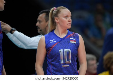 Rio de Janeiro, Brazil - august 06, 2016: KOSIANENKO Ekaterina (C) (RUS) during volleyball game Russia (RUS) vs Argentina (ARG) in maracanazinho in the Olympics Rio 2016 by the group phase
