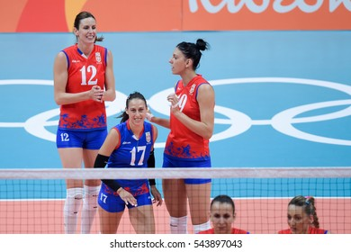 Rio de Janeiro, Brazil - august 06, 2016: POPOVIC Silvija (SRB) during volleyball game Serbia (SRB) vs Italy (ITA) in maracanazinho in the Olympics Rio 2016 by the group phase