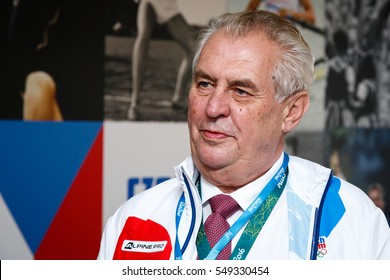 Rio de Janeiro, Brazil. August 4, 2016.  President of Czech Republic Milos Zeman during the visit of Olympic Village at the Olympic Games 2016.