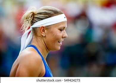 Rio de Janeiro, Brazil. August 7, 2016. TENNIS - WOMEN'S SINGLES FIRST ROUND match between WOZNIACKI Caroline (DEN) and HRADECKA Lucie (CZE) at the Summer Olympic Games. Caroline Wozniacki won 2:0.