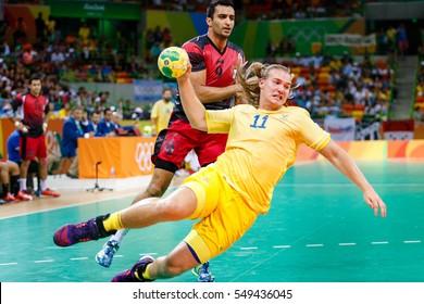 Rio de Janeiro, Brazil. August 9, 2016.  HANDBALL - MEN'S PRELIMINARY GROUP B - Egypt vs Sweden at the 2016 Summer Olympic Games in Rio De Janeiro.