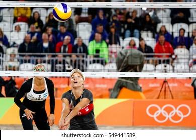 Rio de Janeiro, Brazil. August 10, 2016. BEACH VOLLEYBALL - WOMEN'S PRELIMINARY Gallay/Klug (ARG) vs Hermannova/Slukova (CZE) at the 2016 Summer Olympic Games in Rio De Janeiro.