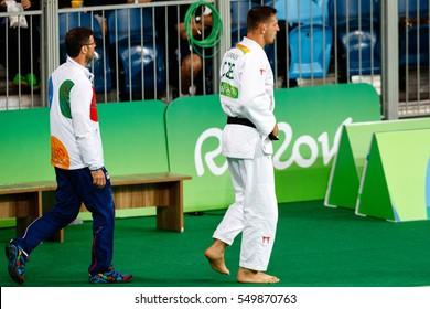Rio de Janeiro, Brazil. August 11, 2016. JUDO - MEN -100 KG QUARTERFINAL match between KRPALEK Lukas (CZE) and HAGA Ryunosuke (JPN) at the 2016 Summer Olympic Games in Rio De Janeiro.