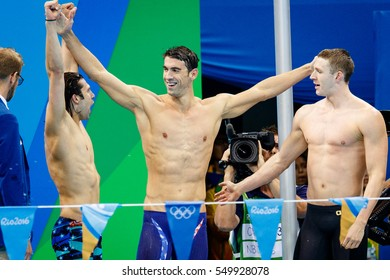 Rio de Janeiro, Brazil. August 13, 2016. SWIMMING - MEN'S 4 X 100M MEDLEY RELAY FINAL at the 2016 Summer Olympic Games in Rio De Janeiro. Michael Phelps.