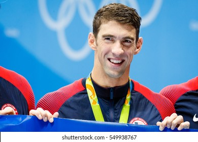 Rio de Janeiro, Brazil. August 14, 2016. Men's 4 x 100m Medley Relay Final medals celebration at the 2016 Summer Olympic Games in Rio De Janeiro. Michael Phelps and his last Olympic race.