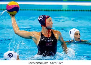 Rio de Janeiro, Brazil. August 15, 2016. WATER POLO - WOMEN'S QUARTERFINAL, MATCH 1, USA vs BRA at the 2016 Summer Olympic Games in Rio De Janeiro.