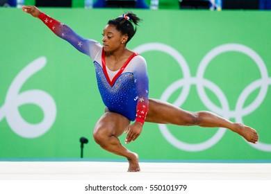 Rio de Janeiro, Brazil. August 16, 2016. ARTISTIC GYMNASTICS - WOMEN'S FLOOR EXERCISE FINAL at the 2016 Summer Olympic Games in Rio De Janeiro. Simone Biles.