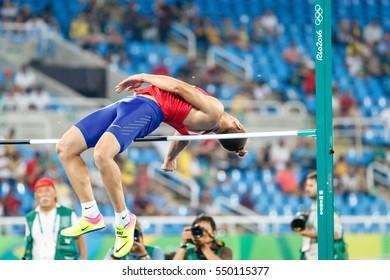 Rio de Janeiro, Brazil. August 17, 2016. ATHLETICS - MEN'S DECATHLON HIGH JUMP at the 2016 Summer Olympic Games in Rio De Janeiro.