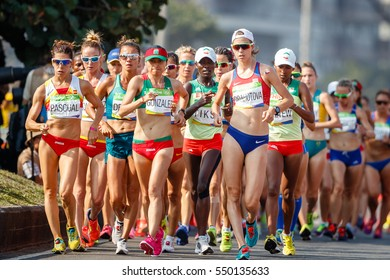 Rio de Janeiro, Brazil. August 18, 2016. ATHLETICS - WOMEN'S 20KM RACE WALK at the 2016 Summer Olympic Games in Rio De Janeiro.  Anezka Drahotova (CZE)
