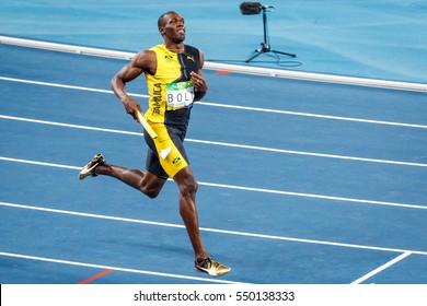 Rio de Janeiro, Brazil. August 18, 2016. ATHLETICS - Men's 4 x 100m Relay Final at the 2016 Summer Olympic Games in Rio De Janeiro. Usain Bolt (JAM)