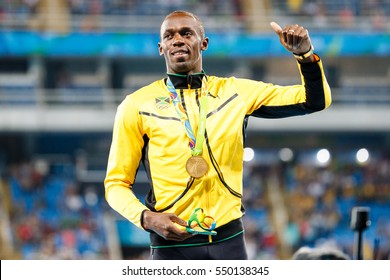 Rio de Janeiro, Brazil. August 18, 2016. ATHLETICS - MEDAL CEREMONY 200M MEN at the 2016 Summer Olympic Games in Rio De Janeiro.  USAIN BOLT (JAM)