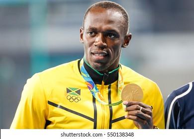 Rio de Janeiro, Brazil. August 18, 2016. ATHLETICS - MEDAL CEREMONY 200M MEN at the 2016 Summer Olympic Games in Rio De Janeiro.  USAIN BOLT (JAM)
