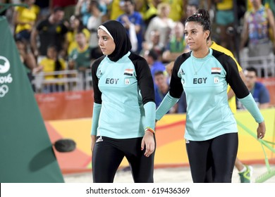 Rio de Janeiro, Brazil - august 07, 2016: Elghobashy (EGY)  and Nada (EGY) during beach volleyball game between Germany (GER) and Egypt (EGY) in the Rio 2016 Olympic Games at the Copacabana Arena.