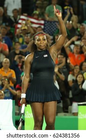 RIO DE JANEIRO, BRAZIL - AUGUST 8, 2016: Olympic champions Serena Williams of United States celebrates victory after singles round two match of the Rio 2016 Olympic Games at the Olympic Tennis Centre