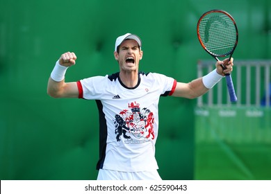 RIO DE JANEIRO, BRAZIL - AUGUST 12, 2016: Olympic champion Andy Murray of Great Britain celebrates victory after men's singles quarterfinal of the Rio 2016 Olympic Games at the Olympic Tennis Centre