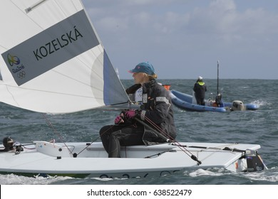 Rio de Janeiro, Brazil - august 12, 2016: Veronika KOZELSKA FENCLOVA (CZE) in the Laser Women category during the Rio 2016 Olympic Games Sailing held at Marina da Gloria, Guanabara Bay