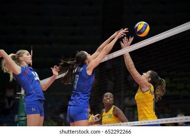 Rio de Janeiro, Brazil - august 14, 2016: VETROVA Vera (RUS) during volleyball game  Brazil (BRA) vs Russia (RUS) in maracanazinho in the Olympics Games Rio 2016