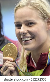 Rio de Janeiro, Brazil - august 13, 2016: Pernille Blume (DEN) gold metal during medal ceremony after Women's 50 metre freestyle of the Rio 2016 Olympics