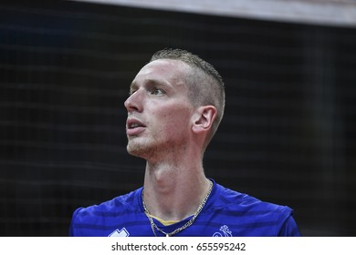 Rio de Janeiro, Brazil - august 15, 2016: Kevin le ROUX during mens´s volleyball game  Brazil (BRA) vs France (FRA) in maracanazinho in the Olympics Games Rio 2016