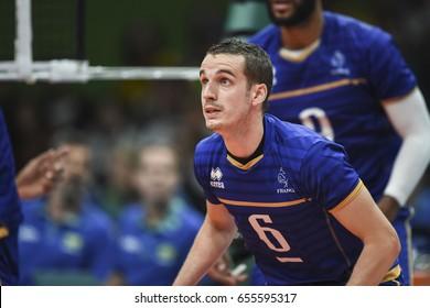 Rio de Janeiro, Brazil - august 15, 2016: Benjamin TONIUTTI (C) during mens´s volleyball game  Brazil (BRA) vs France (FRA) in maracanazinho in the Olympics Games Rio 2016