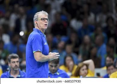 Rio de Janeiro, Brazil - august 15, 2016: Coach Bernardinho during mens´s volleyball game  Brazil (BRA) vs France (FRA) in maracanazinho in the Olympics Games Rio 2016