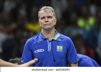 Rio de Janeiro, Brazil - august 15, 2016: Bernardinho during Menss volleyball game  Brazil (BRA) vs France (FRA) in maracanazinho in the Olympics Games Rio 2016