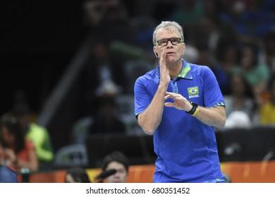 Rio de Janeiro, Brazil - august 15, 2016: Coach Bernardinho during Menss volleyball game  Brazil (BRA) vs France (FRA) in maracanazinho in the Olympics Games Rio 2016