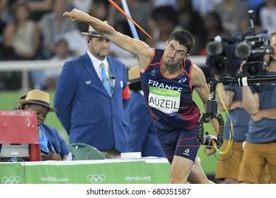 Rio de Janeiro, Brazil - august 18, 2016: AUZEIL Bastien (FRA) during Men's Decathlon Javelin Throw in the Rio 2016 Olympics Games