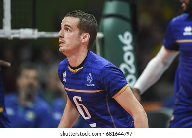 Rio de Janeiro, Brazil - august 15, 2016: Benjamin TONIUTTI (C) during Menss volleyball game  Brazil (BRA) vs France (FRA) in maracanazinho in the Olympics Games Rio 2016
