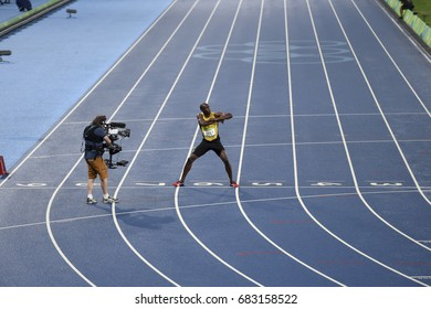 Rio de Janeiro, Brazil - august 18, 2016: Runner Usain Bolt (JAM) during 800m Men's run in the Rio 2016 Olympics