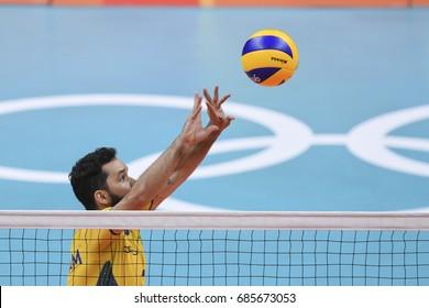 Rio de Janeiro, Brazil - august 19, 2016: William ARJONA (BRA) during Men's Volleyball,match Brazil and Russia in the Rio 2016 Olympics