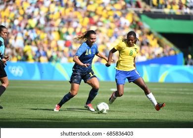 Rio de Janeiro -Brazil August 07, 2016 Women's football during the olympic games of 2016 match between Brazilian national team and Sweden national team