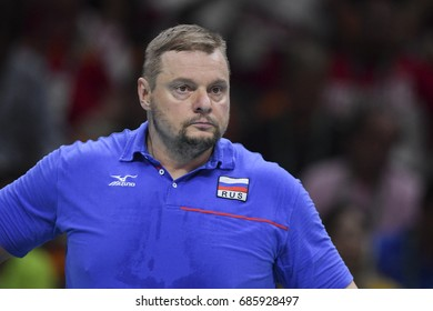 Rio de Janeiro, Brazil - august 19, 2016: ALEKNO Vladimir (RUS) coach during Men's Volleyball,match Brazil and Russia in the Rio 2016 Olympics