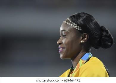 Rio de Janeiro, Brazil - august 18, 2016: women's 200m podium with Elaine THOMPSON (JAM) gold medalist during the 2016 Olympics Athletics held at the Olympic Stadium