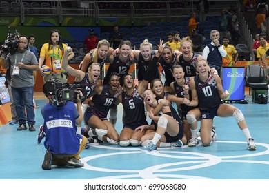 Rio de Janeiro, Brazil - august 20, 2016: USA team celebrate during women's Volleyball,match Nederland and USA in the Rio 2016 Olympics Games