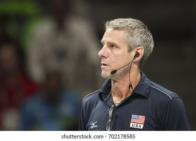 Rio de Janeiro, Brazil - august 20, 2016: Coach KIRALY Karch (USA) during women's Volleyball,match Nederland and USA in the Rio 2016 Olympics Games