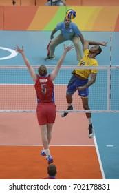 Rio de Janeiro, Brazil - august 19, 2016: Ricardo LUCARELLI (BRA) during Men's Volleyball,match Brazil and Russia in the Rio 2016 Olympics