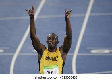 Rio de Janeiro, Brazil - august 18, 2016: Runner Usain Bolt (JAM) during 800m Men's run in the Rio 2016 Olympics