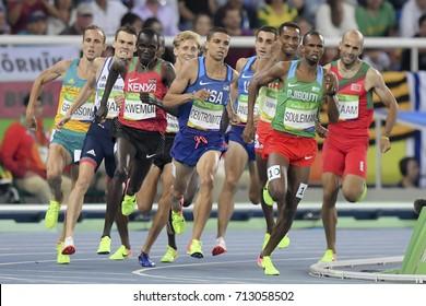Rio de Janeiro, Brazil - august 18, 2016: Runner Ayanieh Souleiman (DJI) during 1500m Men's semifinals run in the Rio 2016 Olympics Games