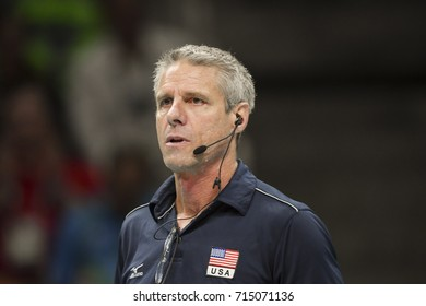 Rio de Janeiro, Brazil - august 20, 2016: HILL Kimberly  (USA) during women's Volleyball,match Nederland and USA in the Rio 2016 Olympics Games