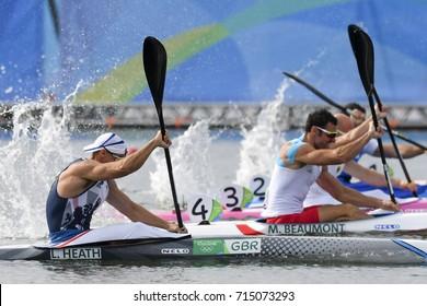 Rio de Janeiro, Brazil. August 20, 2016. CANOE SPRINT - HEATH Liam (GBR) during Men's Kayak single 200m at the 2016 Summer Olympic Games in Rio de Janeiro.