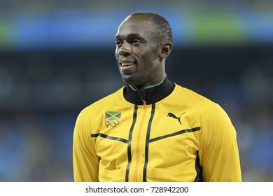 Rio de Janeiro, Brazil - august 20, 2016: Usain Bolt during Men´s 4 x 100m Relay podium ceremony in the Rio 2016 Olympics Games