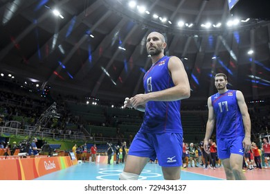 Rio de Janeiro, Brazil - august 21, 2016: Sergey TETYUKHIN (C) (RUS) during men's Volleyball,match Russia and USA in the Rio 2016 Olympics Games