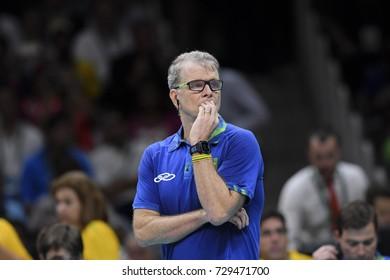 Rio de Janeiro, Brazil - august 21, 2016: Bernardinho coach during final men's Volleyball,match Brazil and Italy in the Rio 2016 Olympics Games