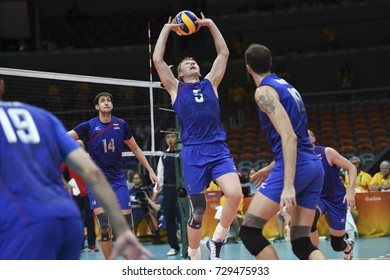 Rio de Janeiro, Brazil - august 21, 2016: Sergey GRANKIN (RUS) during men's Volleyball,match Russia and USA in the Rio 2016 Olympics Games