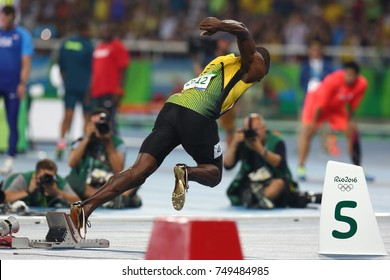 Rio de Janeiro, Brazil - August 18,2016: Usain Bolt from Jamaica, perform at the Olympic Summer Games in Rio De Janeiro, Brazil