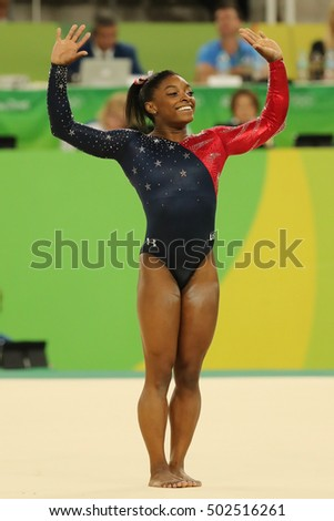 1351050e8 RIO DE JANEIRO, BRAZIL - AUGUST 7, 2016: Olympic champion Simone Biles of  United States competes on the floor exercise during women's all-around  gymnastics ...