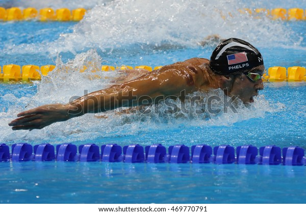 RIO DE JANEIRO, BRAZIL AUGUST 8, 2016: Olympic champion Michael Phelps of United States swimming the Men's 200m butterfly at Rio 2016 Olympic Games