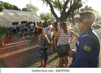 Rio de Janeiro, Brazil- Casimiro de Abreu, March 17th, 2017- Casimiro de Abreu inhabitants waits in line to be vaccinated in an camp hospital after a a man die infected by yellow fever.