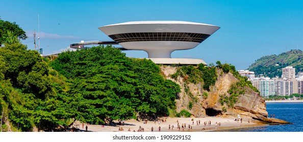 Niterói, Rio de Janeiro, Brazil - CIRCA 2021: The Museum of Contemporary Art in Niterói was designed by Oscar Niemeyer. Voted one of the 10 most influential works of architecture in the last 50 years